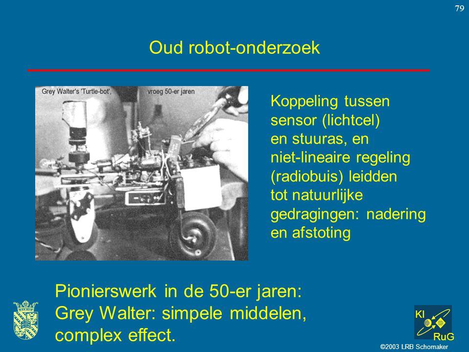 KI RuG ©2003 LRB Schomaker 79 Oud robot-onderzoek Koppeling tussen sensor (lichtcel) en stuuras, en niet-lineaire regeling (radiobuis) leidden tot nat
