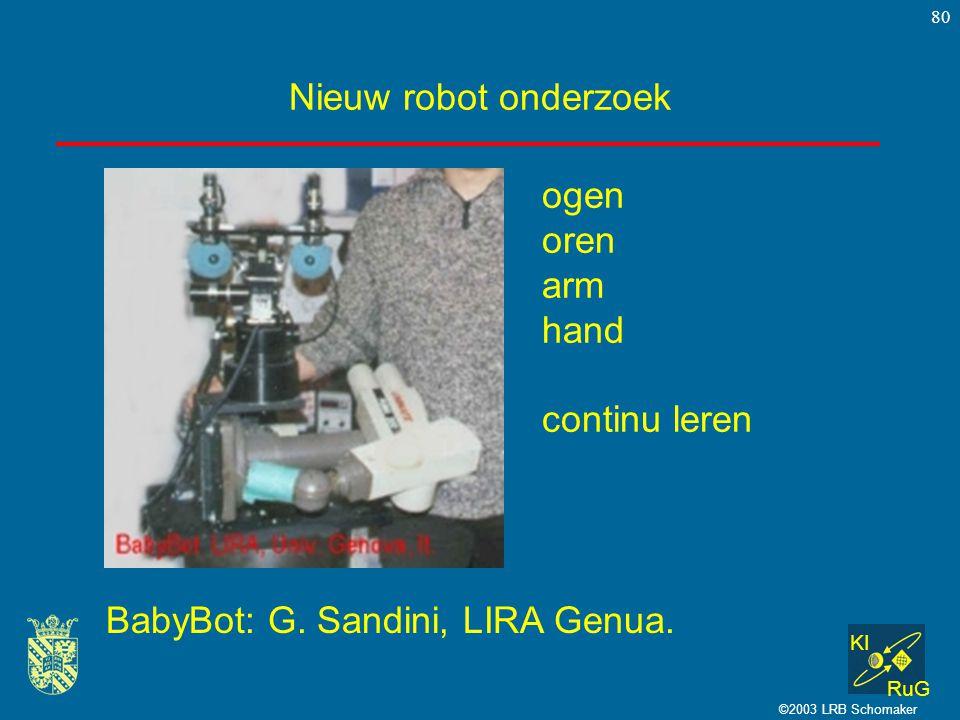 KI RuG ©2003 LRB Schomaker 80 Nieuw robot onderzoek BabyBot: G. Sandini, LIRA Genua. ogen oren arm hand continu leren
