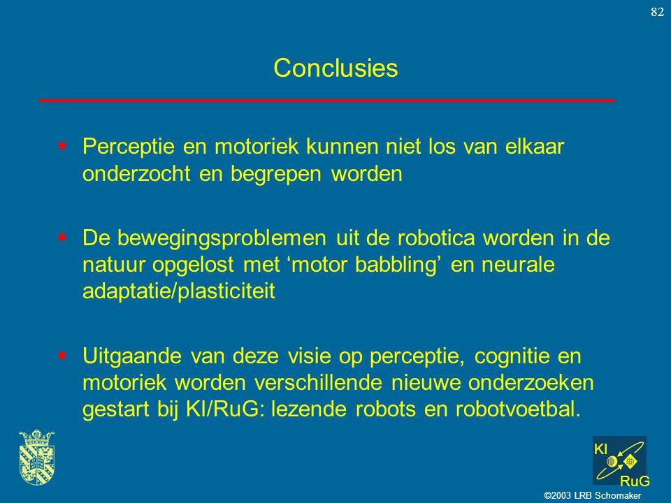 KI RuG ©2003 LRB Schomaker 82 Conclusies  Perceptie en motoriek kunnen niet los van elkaar onderzocht en begrepen worden  De bewegingsproblemen uit