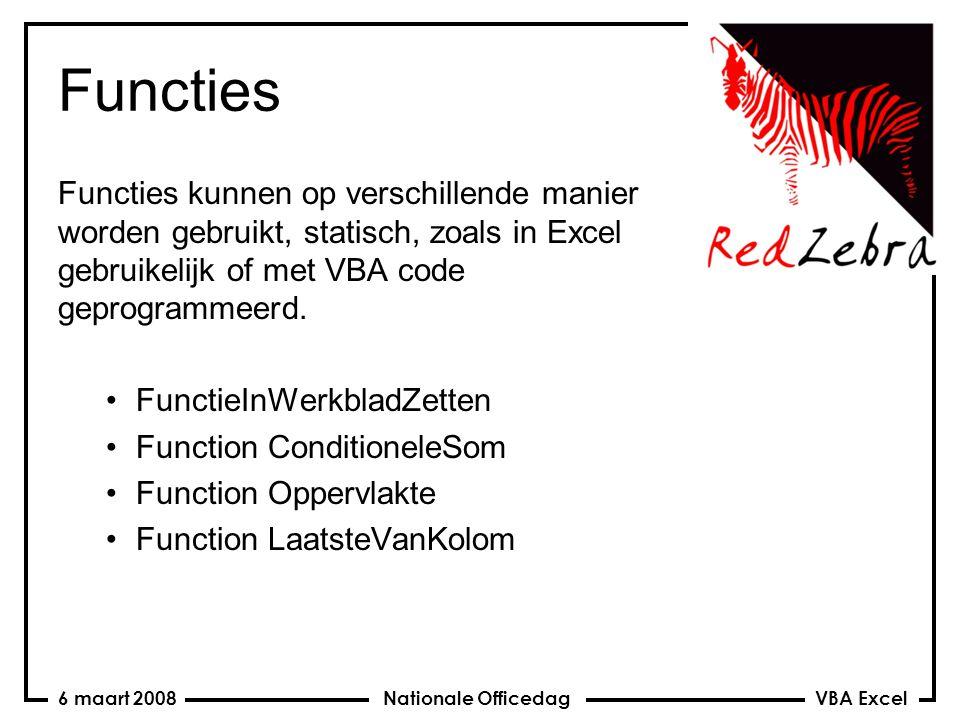 VBA Excel Nationale Officedag6 maart 2008 Functies Functies kunnen op verschillende manier worden gebruikt, statisch, zoals in Excel gebruikelijk of met VBA code geprogrammeerd.