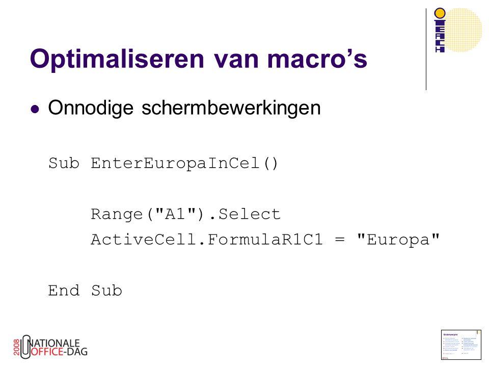 Onnodige schermbewerkingen Sub EnterEuropaInCel() Range(