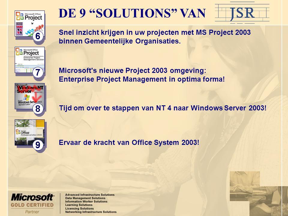 Snel inzicht krijgen in uw projecten met MS Project 2003 binnen Gemeentelijke Organisaties. Microsoft's nieuwe Project 2003 omgeving: Enterprise Proje
