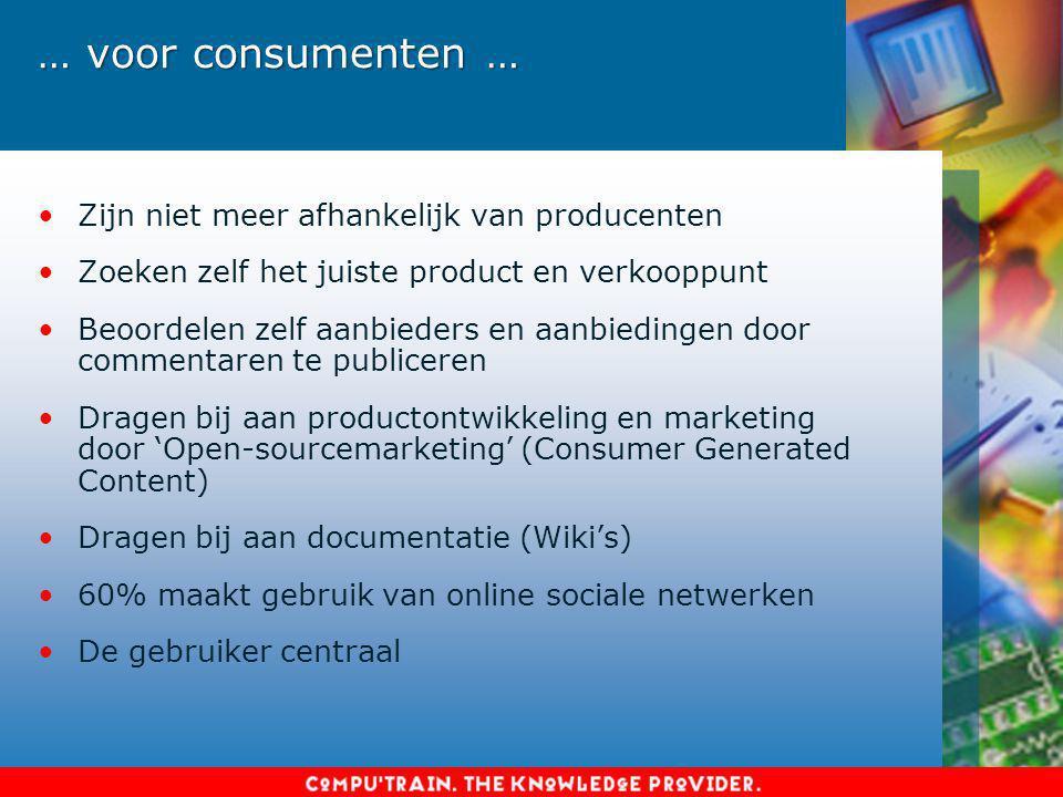 … voor consumenten … Zijn niet meer afhankelijk van producenten Zoeken zelf het juiste product en verkooppunt Beoordelen zelf aanbieders en aanbieding