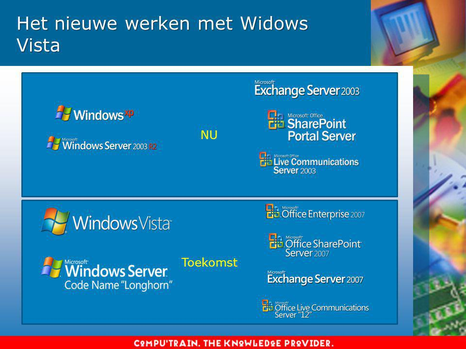 Voor bedrijven –Windows Vista Business –Windows Vista Enterprise: meer beschermingsfuncties, alleen als abonnement verkrijgbaar Voor consumenten –Windows Vista Home Basic: basis thuisgebruik, geen Aero-interface, geen Meeting Space, geen Media Center –Windows Vista Home Premium: geen bedrijfsfuncties –Windows Vista Ultimate: alle thuis-, media- en bedrijfsfuncties Windows Vista Starter: opkomende markten (ontwikkelingslanden en ontwikkelende landen) Windows Vista: welke producten