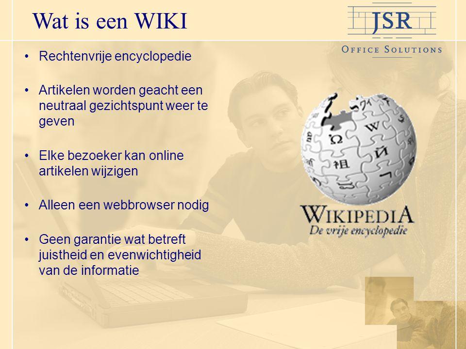 Wat is een WIKI Rechtenvrije encyclopedie Artikelen worden geacht een neutraal gezichtspunt weer te geven Elke bezoeker kan online artikelen wijzigen Alleen een webbrowser nodig Geen garantie wat betreft juistheid en evenwichtigheid van de informatie