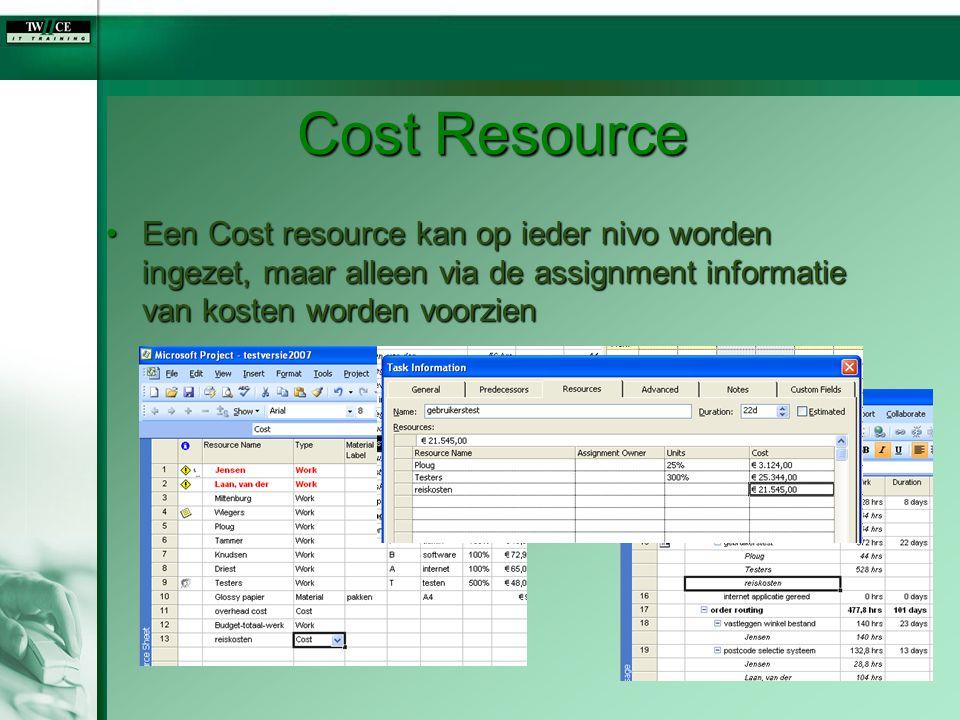 Cost Resource Een Cost resource kan op ieder nivo worden ingezet, maar alleen via de assignment informatie van kosten worden voorzienEen Cost resource