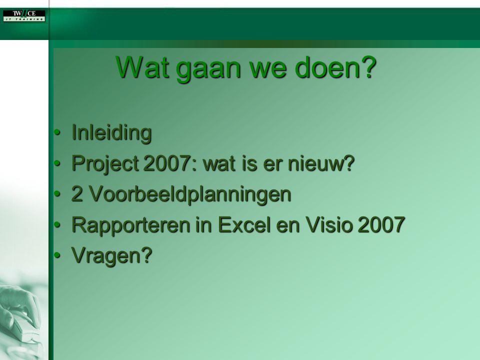 Wat gaan we doen? InleidingInleiding Project 2007: wat is er nieuw?Project 2007: wat is er nieuw? 2 Voorbeeldplanningen2 Voorbeeldplanningen Rapporter