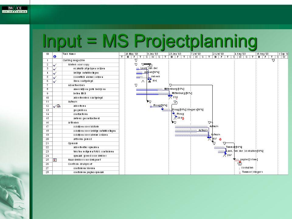 Input = MS Projectplanning