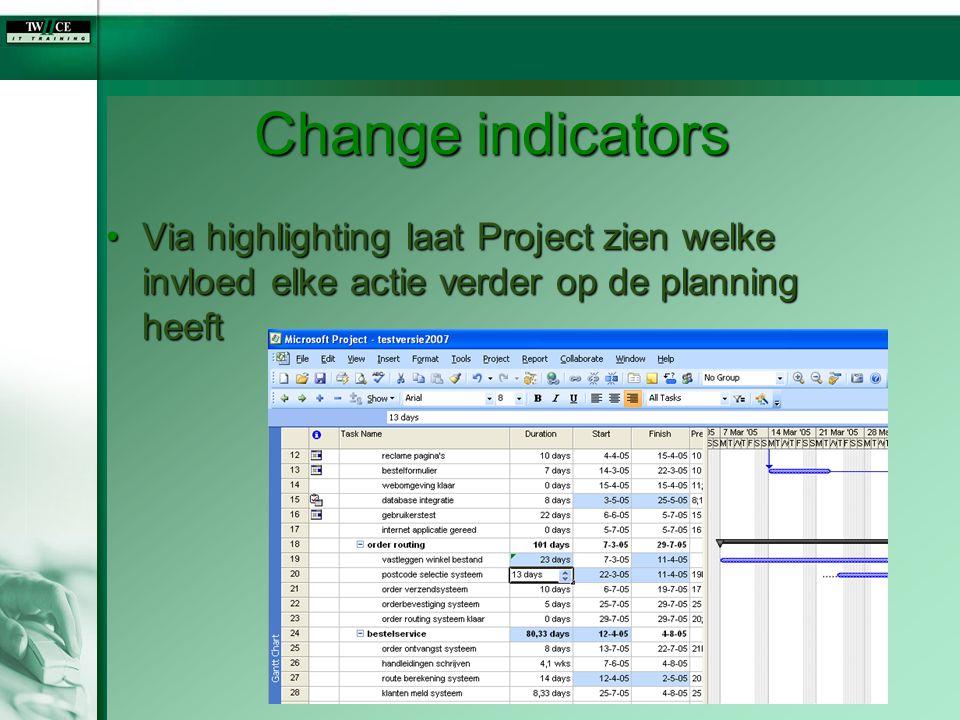 Change indicators Via highlighting laat Project zien welke invloed elke actie verder op de planning heeftVia highlighting laat Project zien welke invl