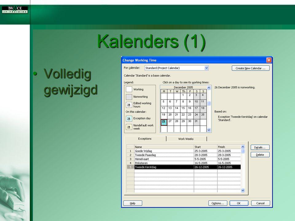 Kalenders (1) Volledig gewijzigdVolledig gewijzigd