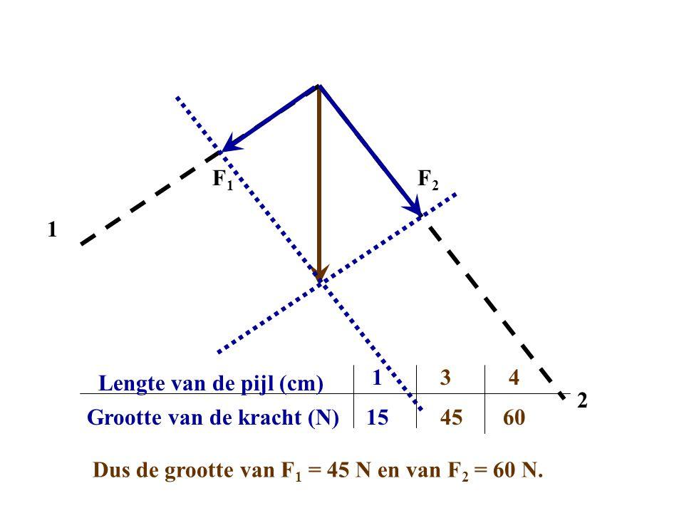 1 2 F1F1 F2F2 Grootte van de kracht (N) Lengte van de pijl (cm) 1 15 3 45 Dus de grootte van F 1 = 45 N en van F 2 = 60 N.