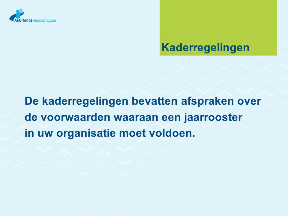Kaderregelingen De kaderregelingen bevatten afspraken over de voorwaarden waaraan een jaarrooster in uw organisatie moet voldoen.