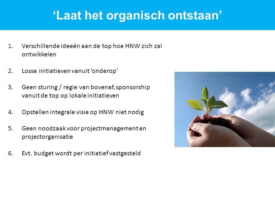 1.Verschillende ideeën aan de top hoe HNW zich zal ontwikkelen 2.Losse initiatieven vanuit 'onderop' 3.Geen sturing / regie van bovenaf, sponsorship v