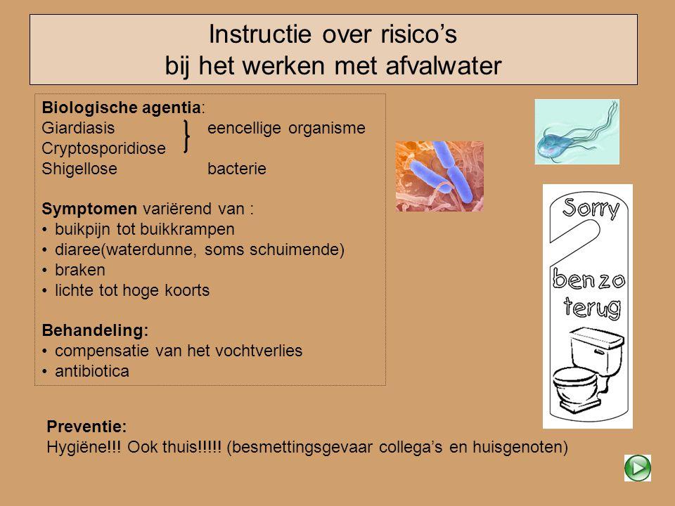 Instructie over risico's bij het werken met afvalwater Biologische agentia: Giardiasiseencellige organisme Cryptosporidiose Shigellosebacterie Symptom