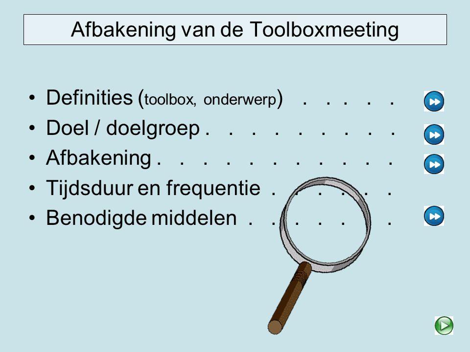 Afbakening, tijdsduur en frequentie Afbakening De toolbox is bedoeld om medewerkers bewust te maken over het risico biologische agentia en te informeren over maatregelen die het waterschap hier tegen genomen heeft.