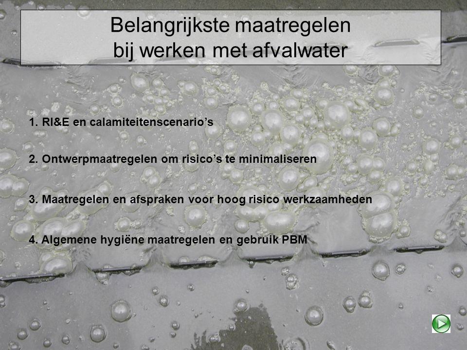 Belangrijkste maatregelen bij werken met afvalwater 2. Ontwerpmaatregelen om risico's te minimaliseren 1. RI&E en calamiteitenscenario's 3. Maatregele