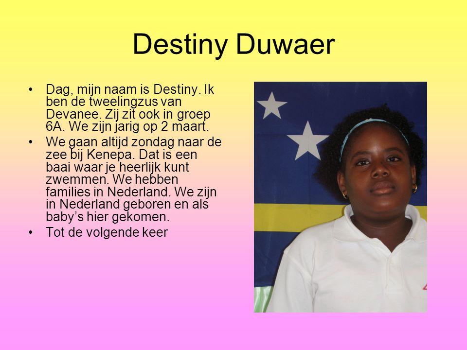 Destiny Duwaer Dag, mijn naam is Destiny.Ik ben de tweelingzus van Devanee.