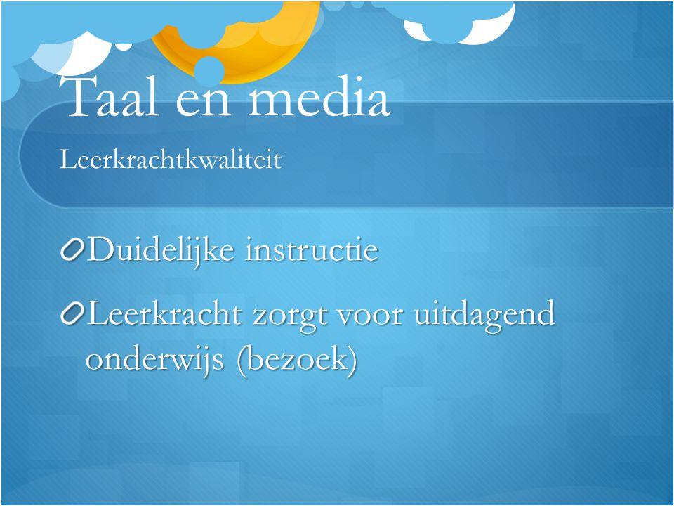 Taal en media Leerkrachtkwaliteit Duidelijke instructie Leerkracht zorgt voor uitdagend onderwijs (bezoek)