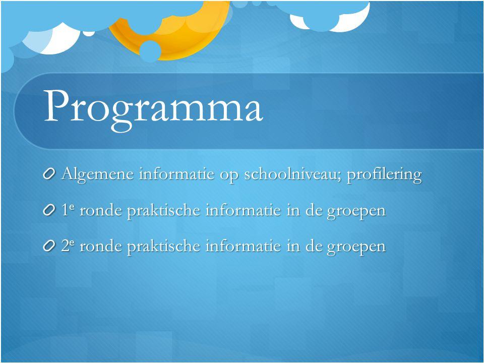 Programma Algemene informatie op schoolniveau; profilering 1 e ronde praktische informatie in de groepen 2 e ronde praktische informatie in de groepen