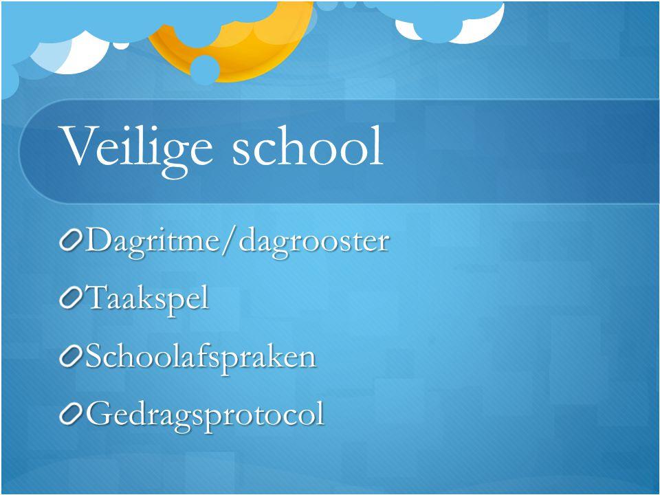 Veilige school Dagritme/dagroosterTaakspelSchoolafsprakenGedragsprotocol