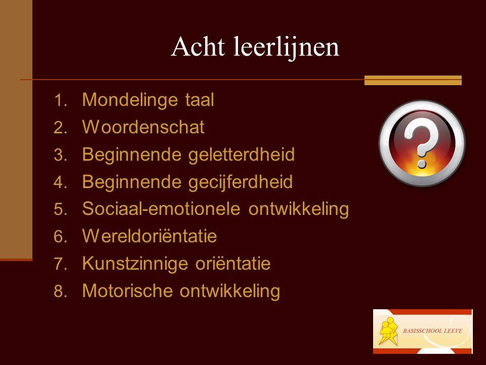 Acht leerlijnen 1.Mondelinge taal 2. Woordenschat 3.
