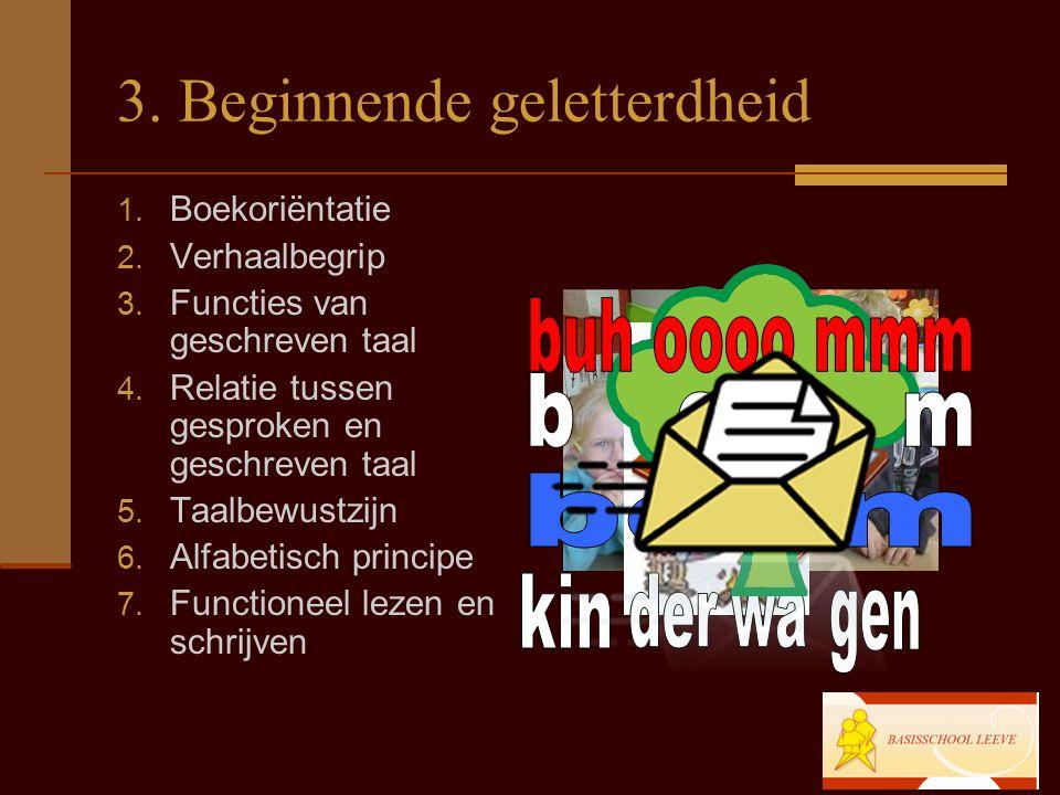 3. Beginnende geletterdheid 1. Boekoriëntatie 2. Verhaalbegrip 3. Functies van geschreven taal 4. Relatie tussen gesproken en geschreven taal 5. Taalb