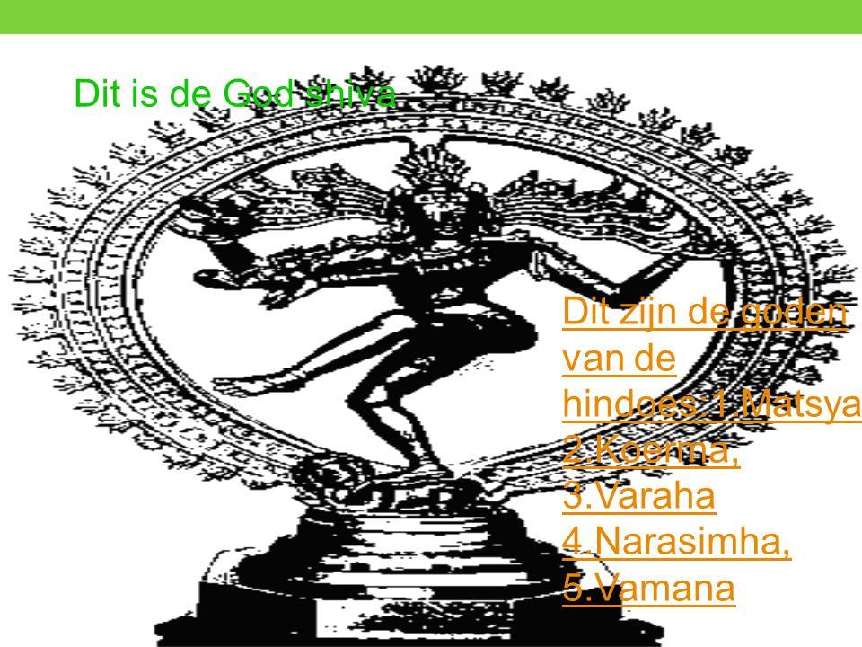 Dit is de God shiva Dit zijn de goden van de hindoes:1.Matsya 2.Koerma, 3.Varaha 4.Narasimha, 5.Vamana