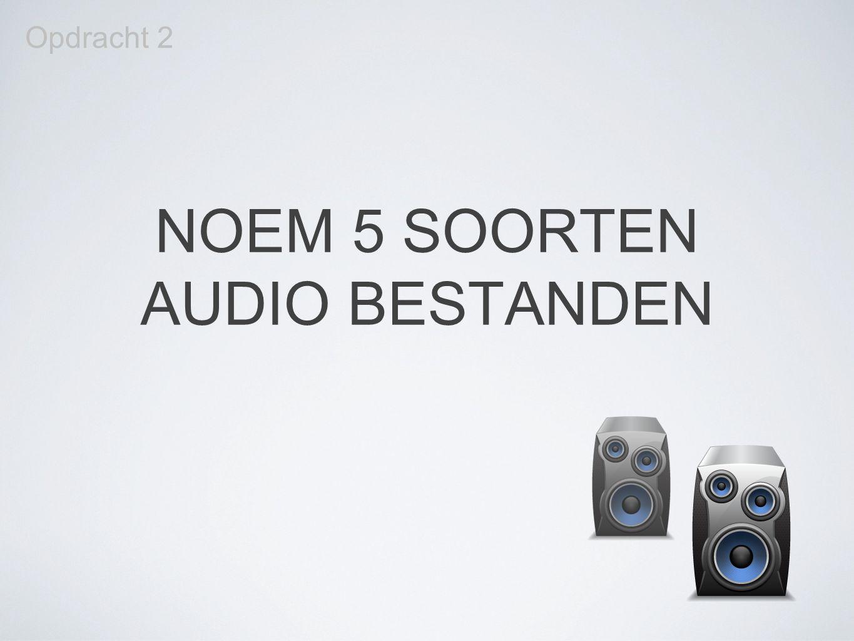 NOEM 5 SOORTEN AUDIO BESTANDEN Opdracht 2