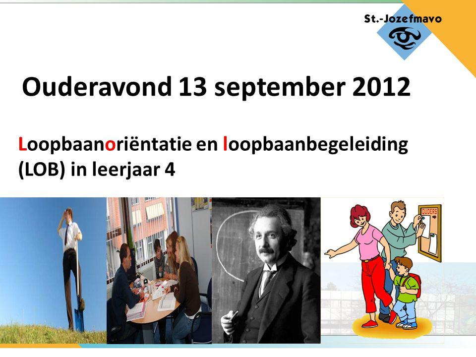 Loopbaanoriëntatie en loopbaanbegeleiding (LOB) in leerjaar 4 Ouderavond 13 september 2012