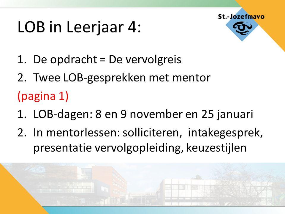 LOB in Leerjaar 4: 1.De opdracht = De vervolgreis 2.Twee LOB-gesprekken met mentor (pagina 1) 1.LOB-dagen: 8 en 9 november en 25 januari 2.In mentorle