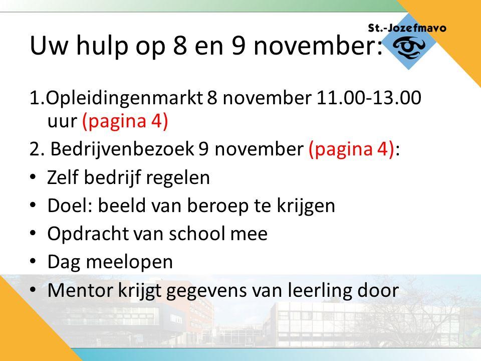 Uw hulp op 8 en 9 november: 1.Opleidingenmarkt 8 november 11.00-13.00 uur (pagina 4) 2. Bedrijvenbezoek 9 november (pagina 4): Zelf bedrijf regelen Do