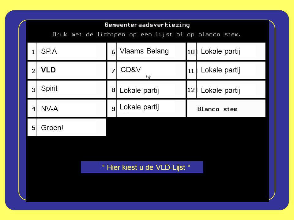 """SP.A VLD CD&V Lokale partij Spirit NV-A Vlaams Belang Groen! """" Hier kiest u de VLD-Lijst """""""