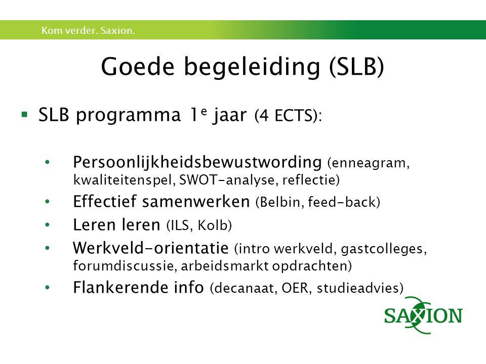 Kom verder. Saxion. Goede begeleiding (SLB)  SLB programma 1 e jaar (4 ECTS): Persoonlijkheidsbewustwording (enneagram, kwaliteitenspel, SWOT-analyse