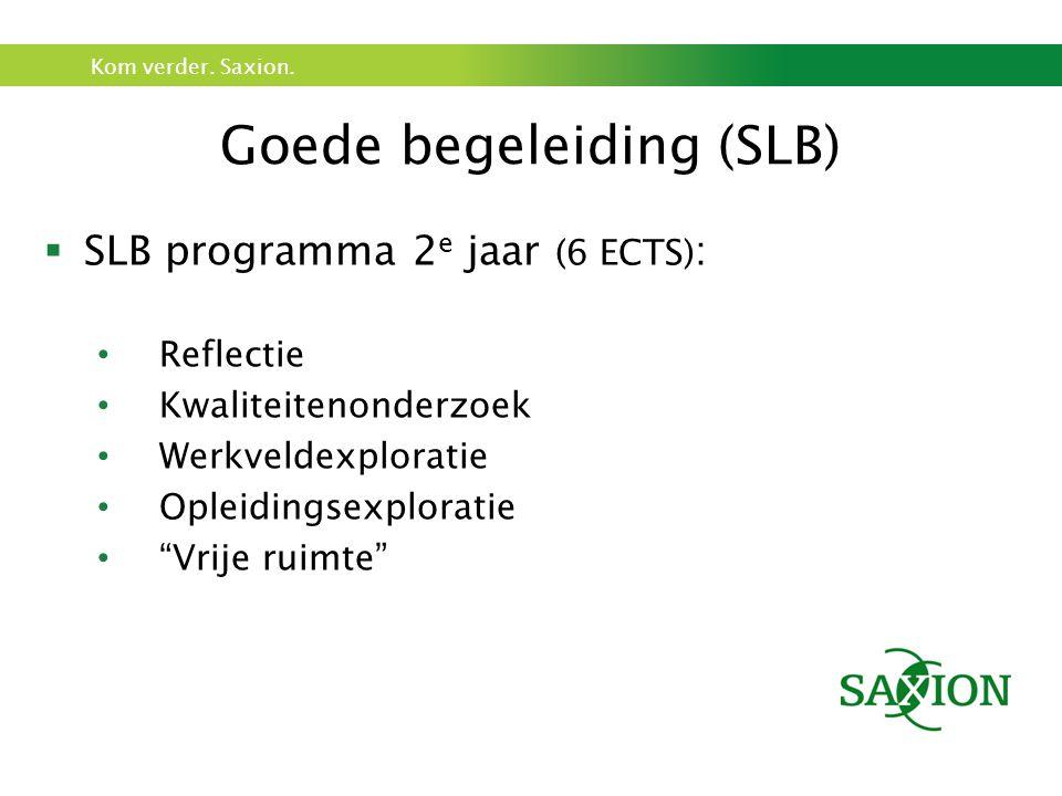 Kom verder. Saxion. Goede begeleiding (SLB)  SLB programma 2 e jaar (6 ECTS) : Reflectie Kwaliteitenonderzoek Werkveldexploratie Opleidingsexploratie