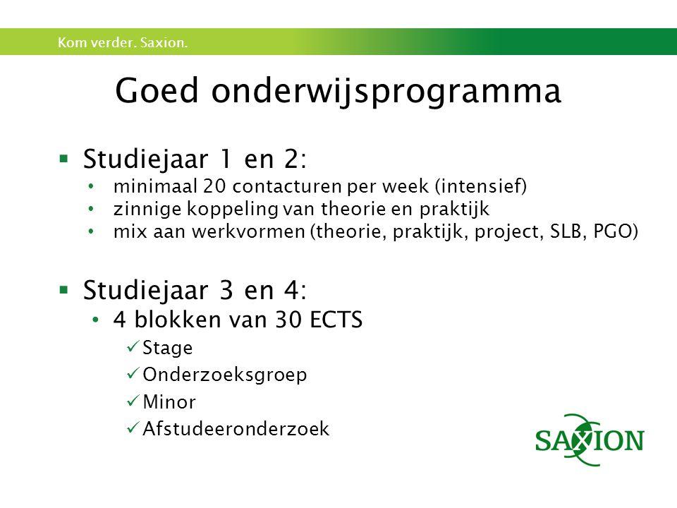 Kom verder. Saxion. Goed onderwijsprogramma  Studiejaar 1 en 2: minimaal 20 contacturen per week (intensief) zinnige koppeling van theorie en praktij