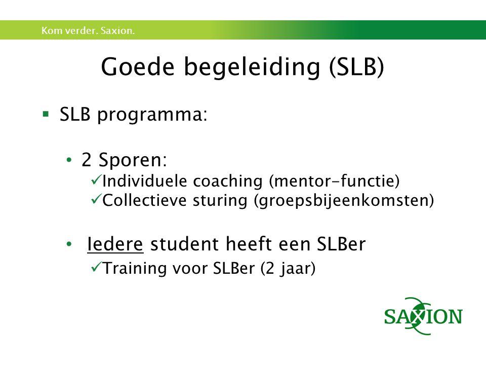 Kom verder. Saxion. Goede begeleiding (SLB)  SLB programma: 2 Sporen: Individuele coaching (mentor-functie) Collectieve sturing (groepsbijeenkomsten)