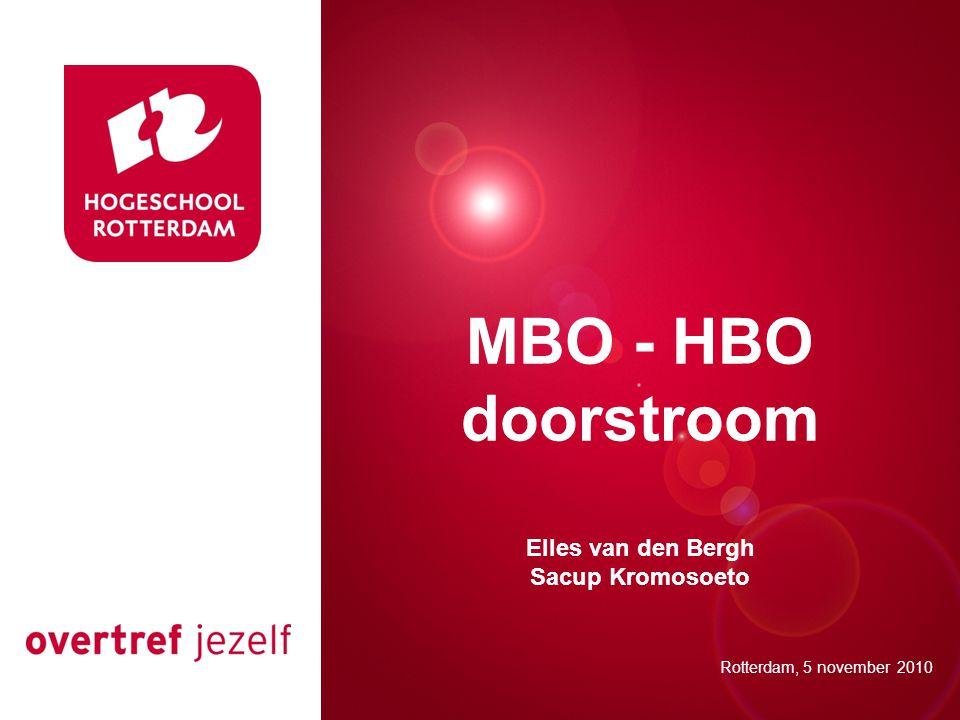 Presentatie titel Rotterdam, 00 januari 2007 MBO - HBO doorstroom Elles van den Bergh Sacup Kromosoeto Rotterdam, 5 november 2010