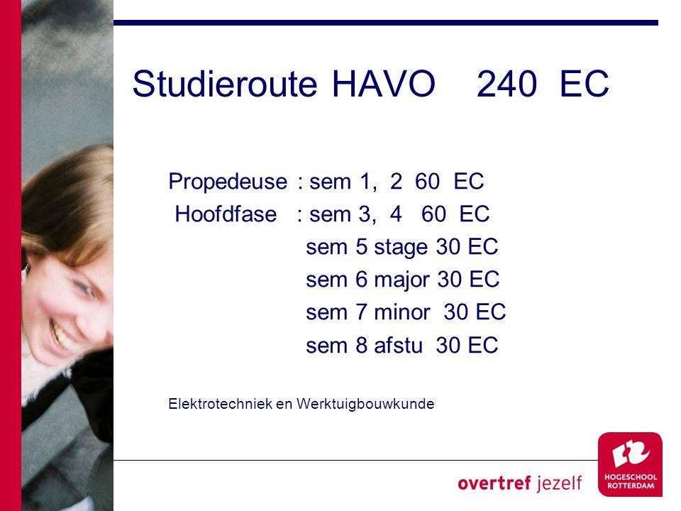 Studieroute HAVO 240 EC Propedeuse : sem 1, 2 60 EC Hoofdfase : sem 3, 4 60 EC sem 5 stage 30 EC sem 6 major 30 EC sem 7 minor 30 EC sem 8 afstu 30 EC Elektrotechniek en Werktuigbouwkunde