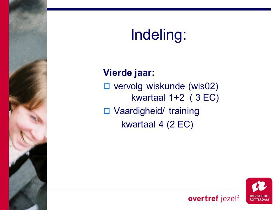 Indeling: Vierde jaar:  vervolg wiskunde (wis02) kwartaal 1+2 ( 3 EC)  Vaardigheid/ training kwartaal 4 (2 EC)