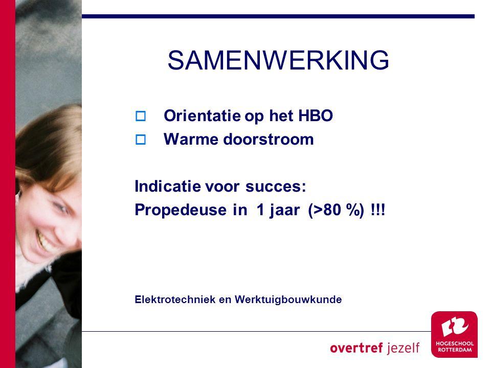 SAMENWERKING  Orientatie op het HBO  Warme doorstroom Indicatie voor succes: Propedeuse in 1 jaar (>80 %) !!.