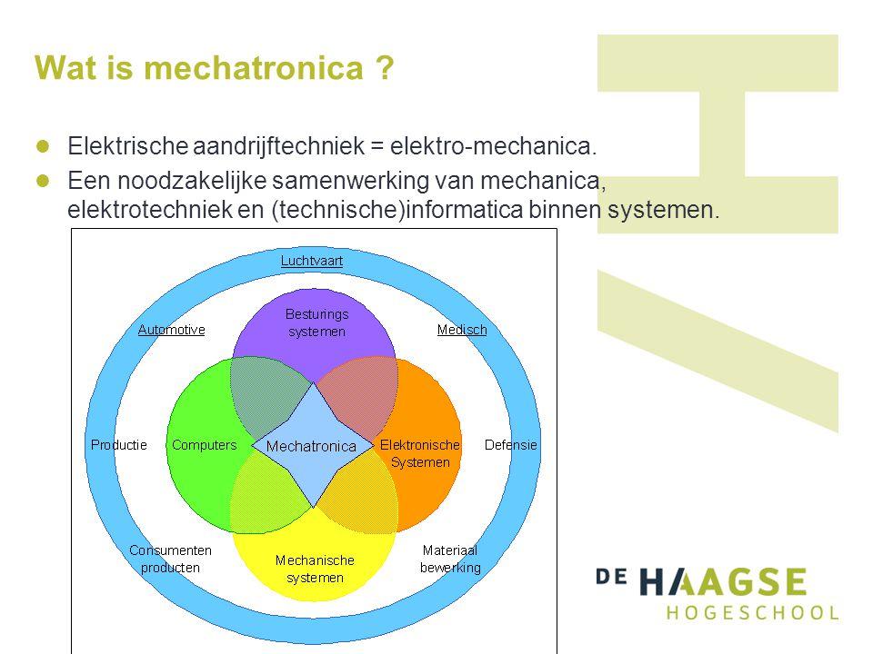 Wat is mechatronica .Elektrische aandrijftechniek = elektro-mechanica.