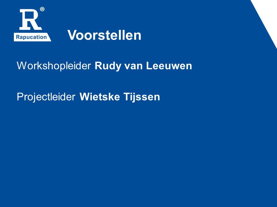 Voorstellen Workshopleider Rudy van Leeuwen Projectleider Wietske Tijssen