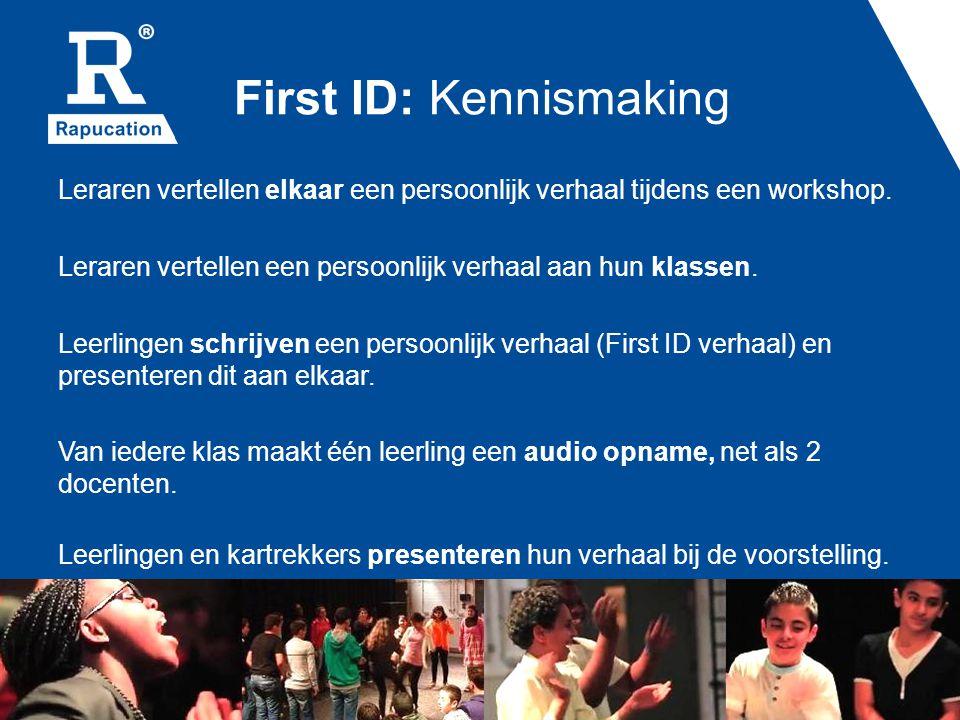 First ID: Vriendelijke houding Docenten krijgen een workshop over de hulpmiddelen van Rapucation en passen deze naar eigen inzicht aan: -Stilte teken -De drie regels -Afbeeldingen voor werkhouding (bordjes) Docenten (en de workshopleiders) werken acht weken met de deze hulpmiddelen.
