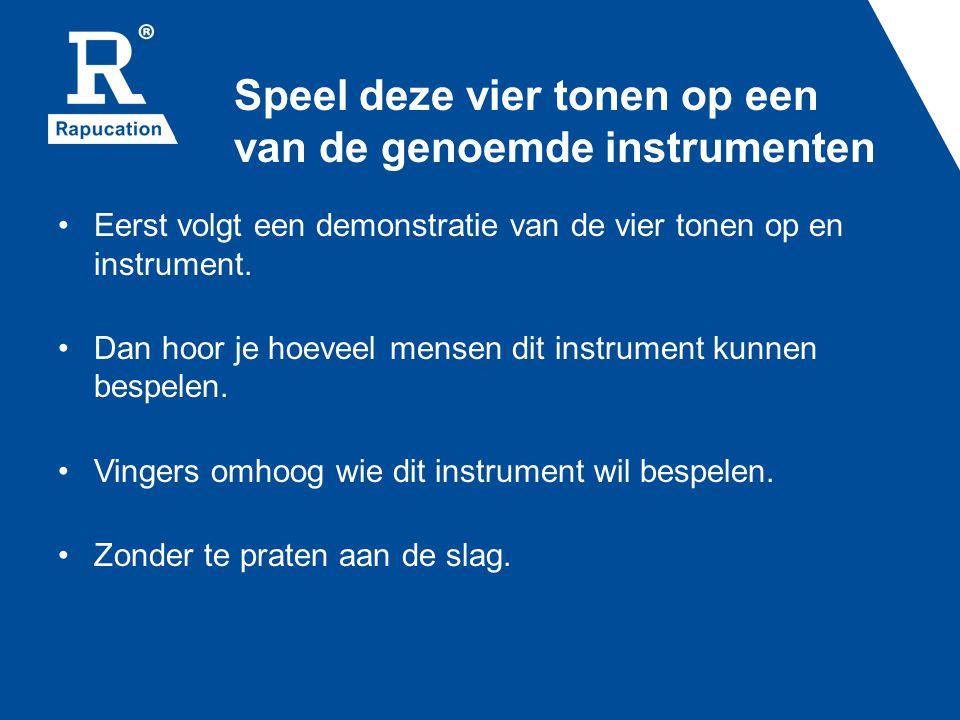 Speel deze vier tonen op een van de genoemde instrumenten Eerst volgt een demonstratie van de vier tonen op en instrument.