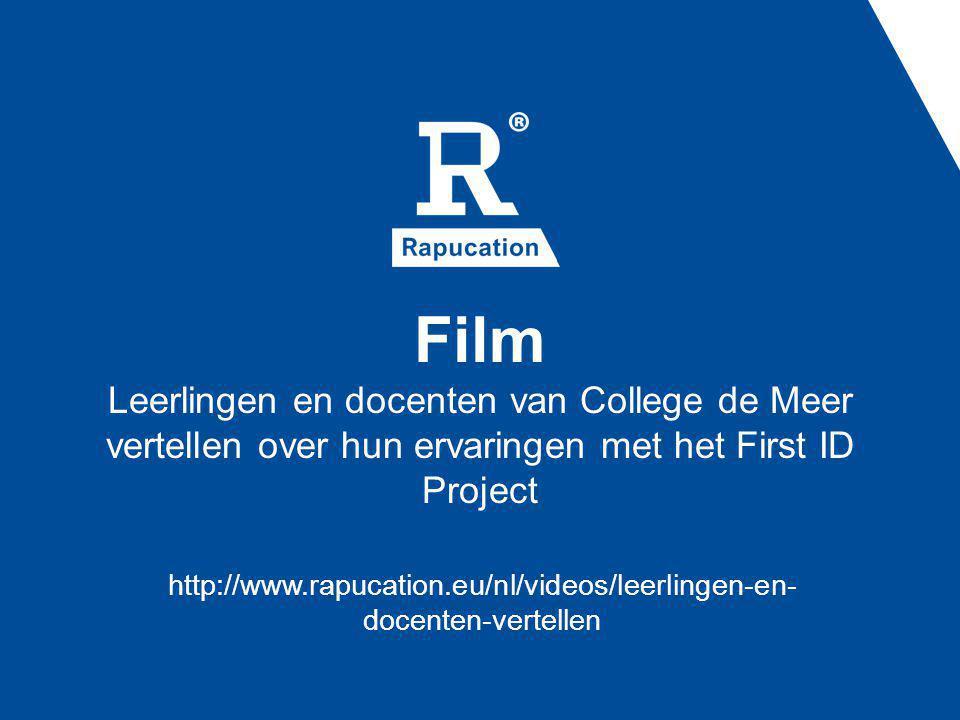 Film Leerlingen en docenten van College de Meer vertellen over hun ervaringen met het First ID Project http://www.rapucation.eu/nl/videos/leerlingen-e