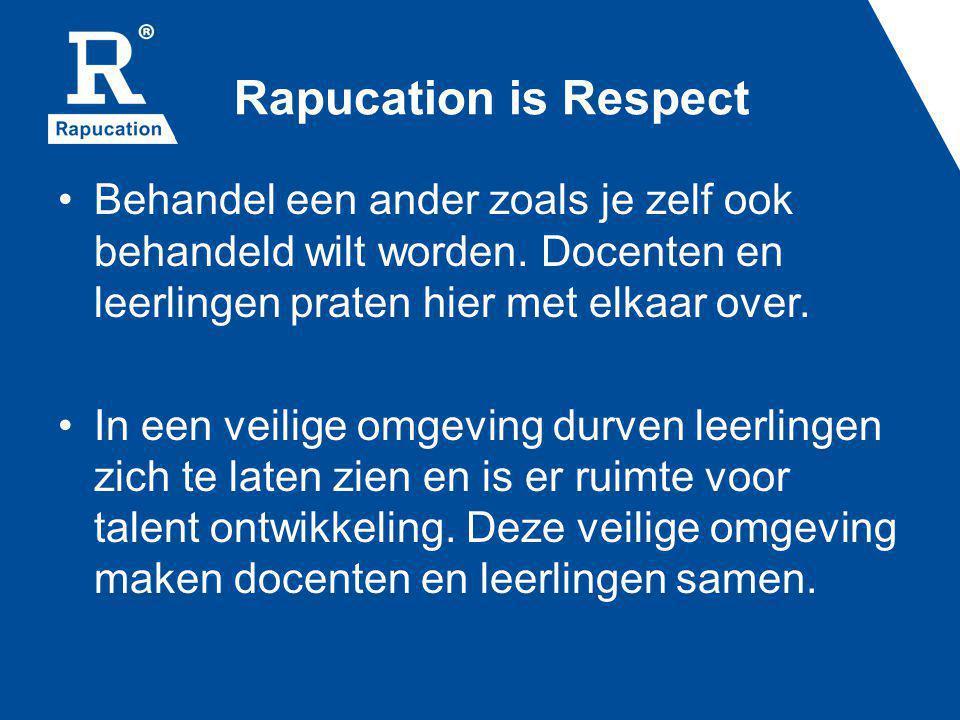 Rapucation is Respect Behandel een ander zoals je zelf ook behandeld wilt worden. Docenten en leerlingen praten hier met elkaar over. In een veilige o