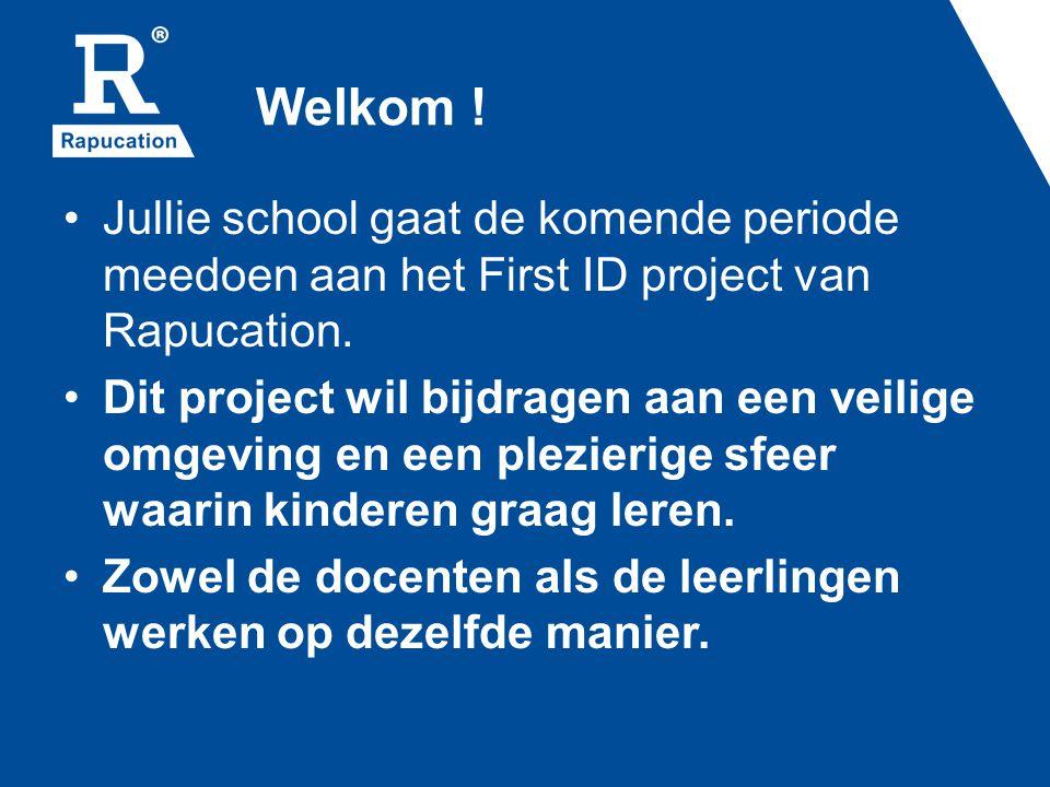 Welkom . Jullie school gaat de komende periode meedoen aan het First ID project van Rapucation.