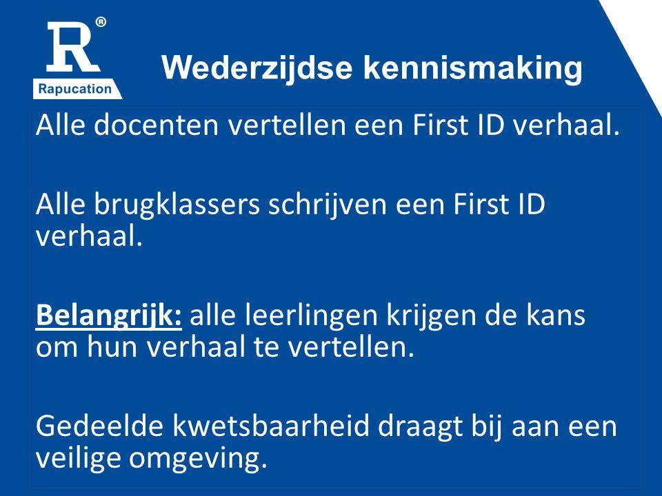 Wederzijdse kennismaking Alle docenten vertellen een First ID verhaal.