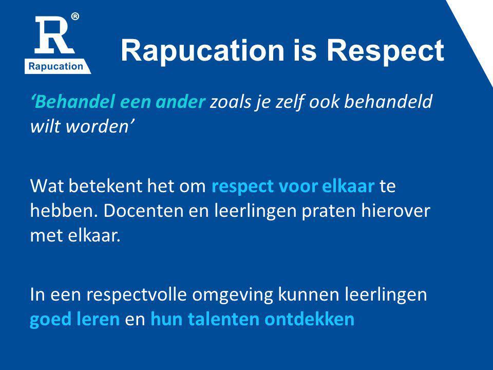 Rapucation is Respect 'Behandel een ander zoals je zelf ook behandeld wilt worden' Wat betekent het om respect voor elkaar te hebben. Docenten en leer