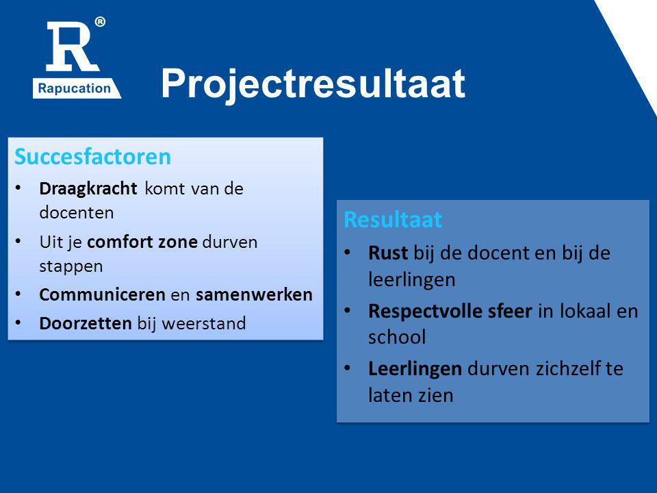 Projectresultaat Succesfactoren Draagkracht komt van de docenten Uit je comfort zone durven stappen Communiceren en samenwerken Doorzetten bij weersta